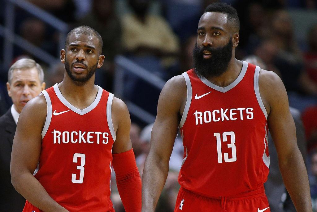 Former Rockets teammates Chris Paul and James Harden
