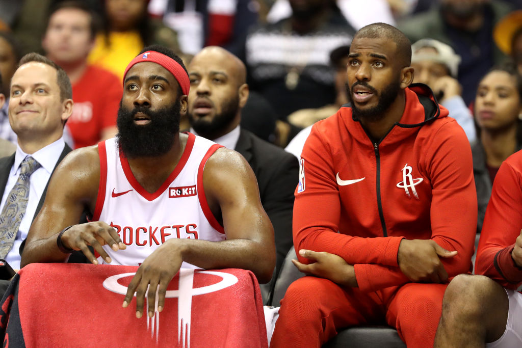 Former Rockets teammates Chris Paul and James Harden