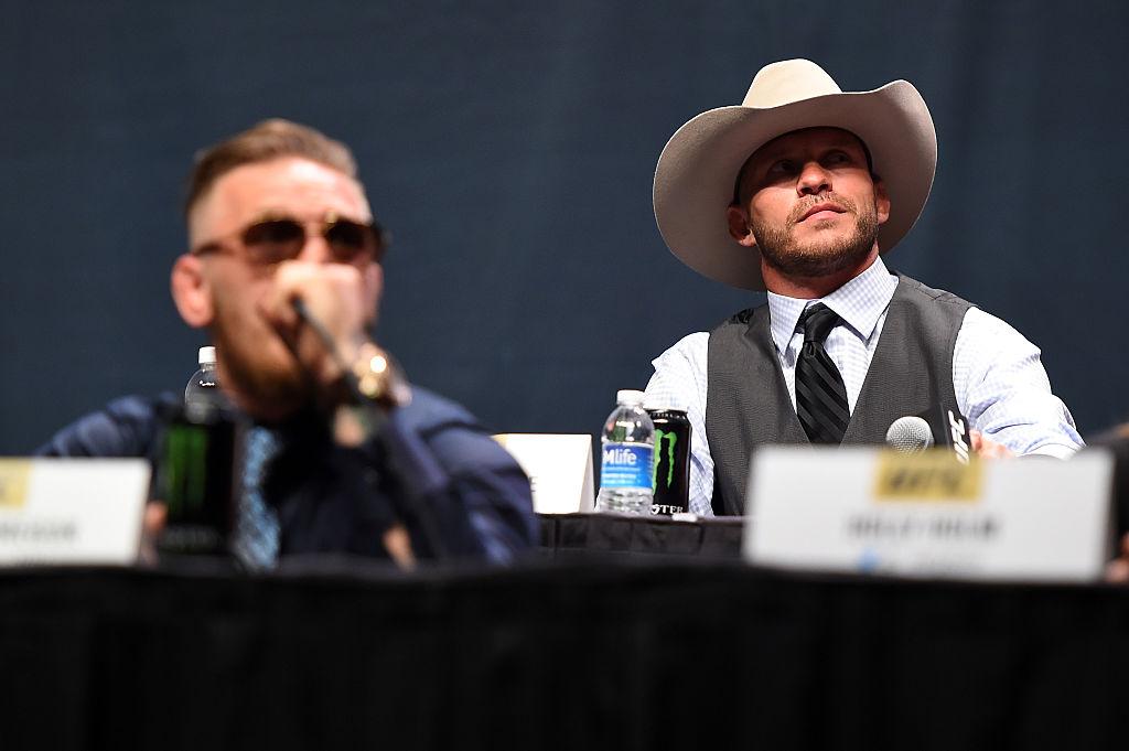 Conor McGregor and Donald Cerrone at a press conference