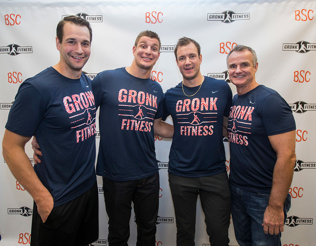 Dan Gronkowksi, New England Patriots player Rob Gronkowski, Gordie Jr. Gronkowski, and Gordy Gronkowksi before the first work out in the Gronk Zone at Boston Sports Club