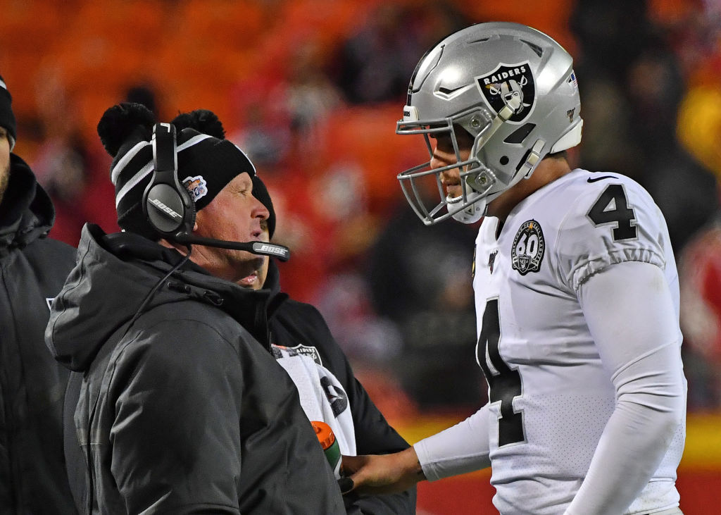 Jon Gruden and Derek Carr trying to figure things out in a second straight blowout loss