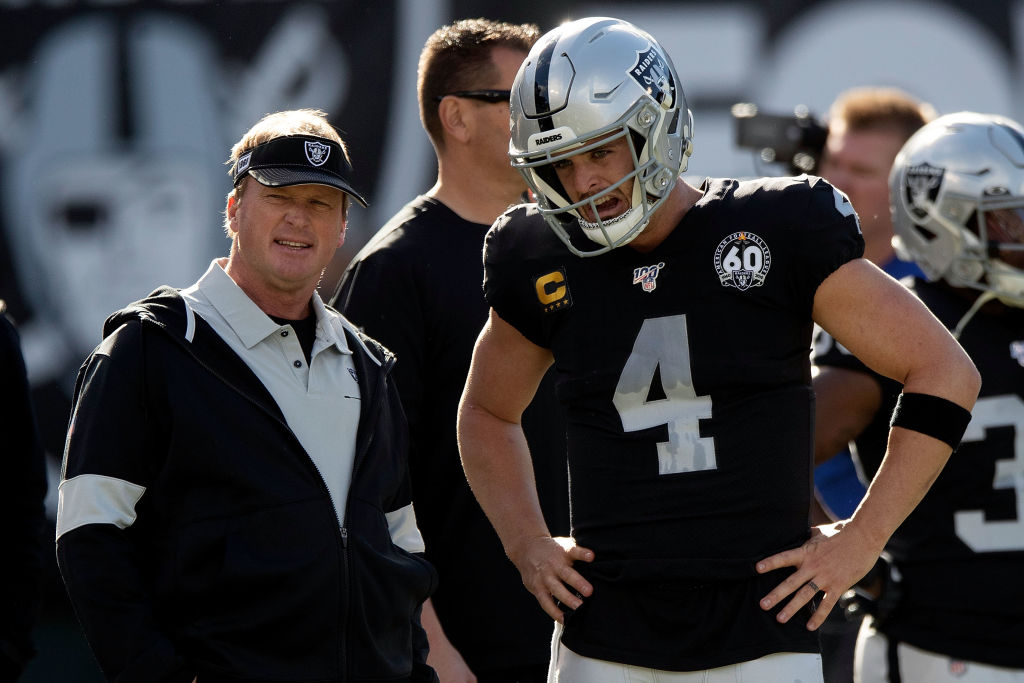 Jon Gruden and Derek Carr have led the Raiders to four straight losses in their final season in Oakland