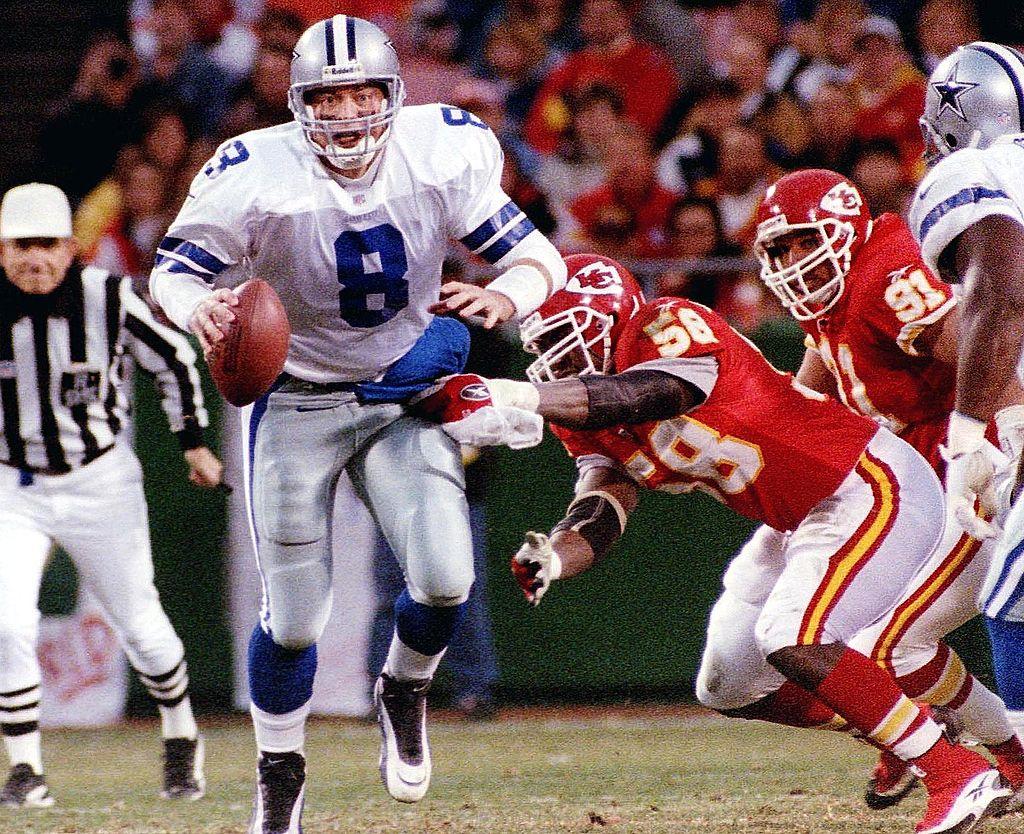 NFL Hall of Famer Derrick Thomas sacking Troy Aikmen