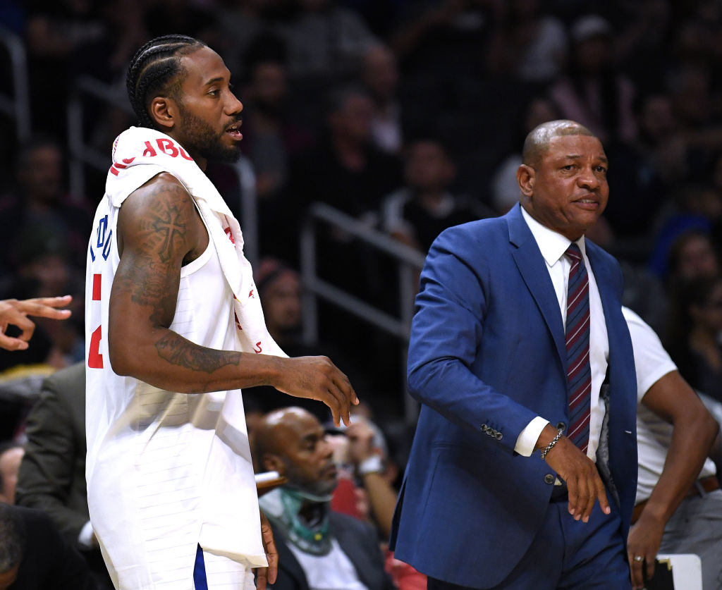 Clippers head coach Doc Rivers and forward Kawhi Leonard