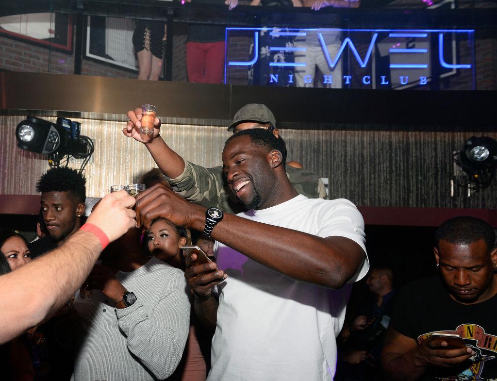 Professional basketball player Draymond Green of the Golden State Warriors celebrates at Jewel Nightclub