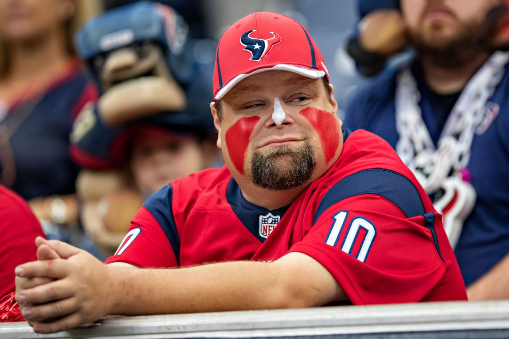 Fan of the Houston Texans in the stands before a game