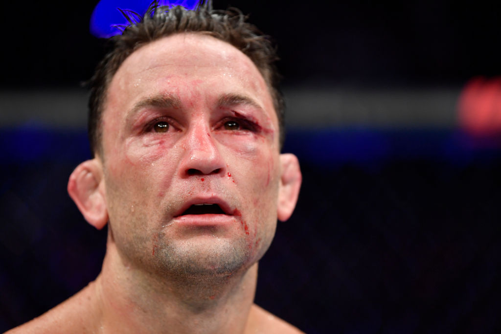 Frankie Edgar reacts after losing a UFC fight