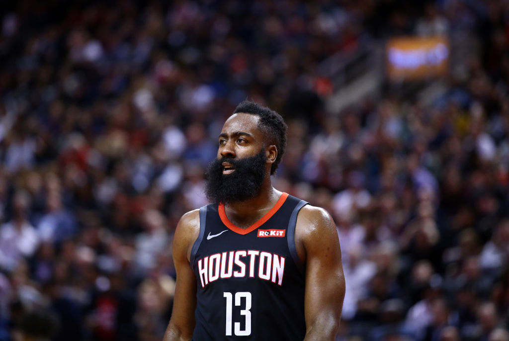 James Harden of the Houston Rockets reacts to a call