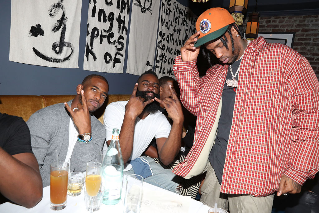 Chris Paul, James Harden and Travis Scott Chris attend a Paul Dusse Dinner