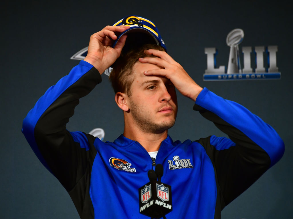 Jared Goff at a Super Bowl press conference
