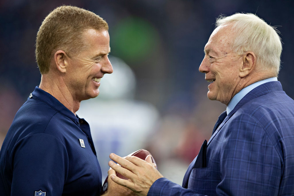 Jerry Jones owner of the most valuable NFL team, the Dallas Cowboys, meets with his coach.