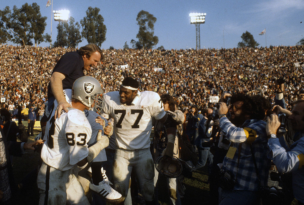 John Madden and the Oakland Raiders celebrate their Super Bowl XI victory