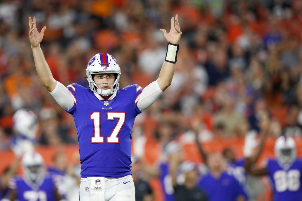 Bills quarterback, Josh Allen, celebrates after throwing a touchdown