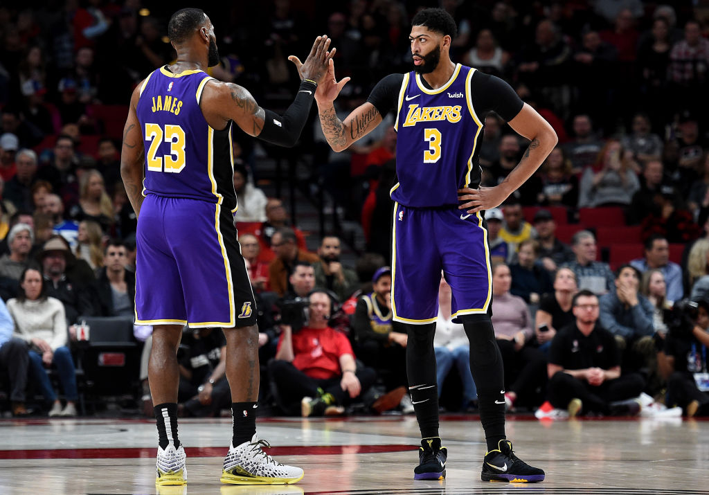 Lakers forwards Anthony Davis and LeBron James