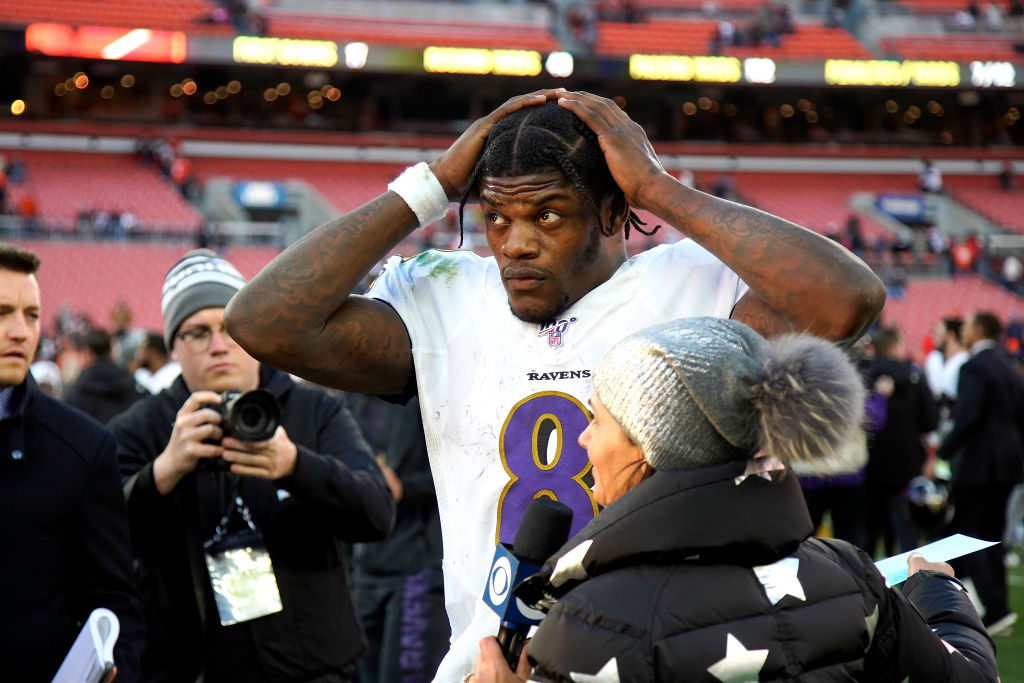 Lamar Jackson of the Baltimore Ravens is interviewed after the game