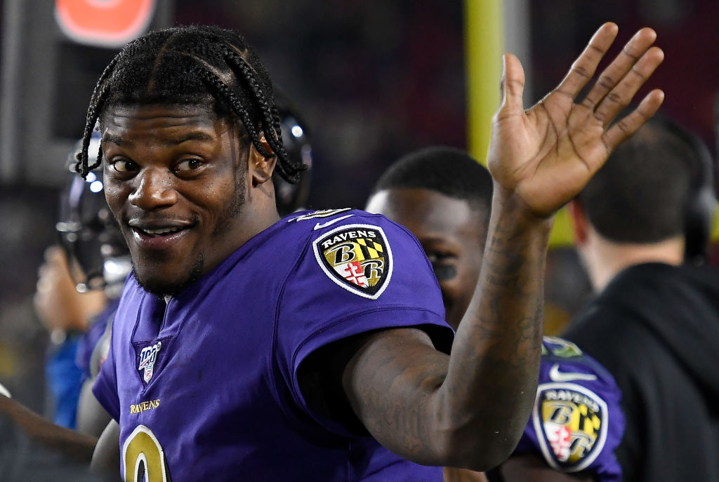 Lamar Jackson celebrating after a touchdown.