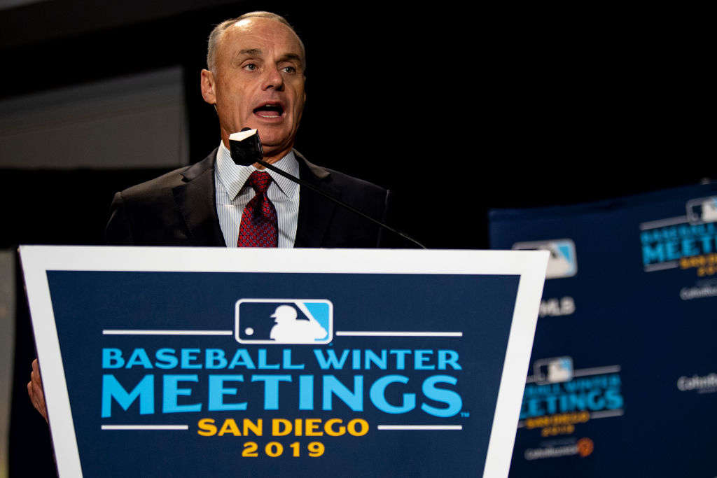 MLB Commissioner Rob Manfred is moving ahead on a three-batter minimum rule for pitchers, but it might not make games any shorter.