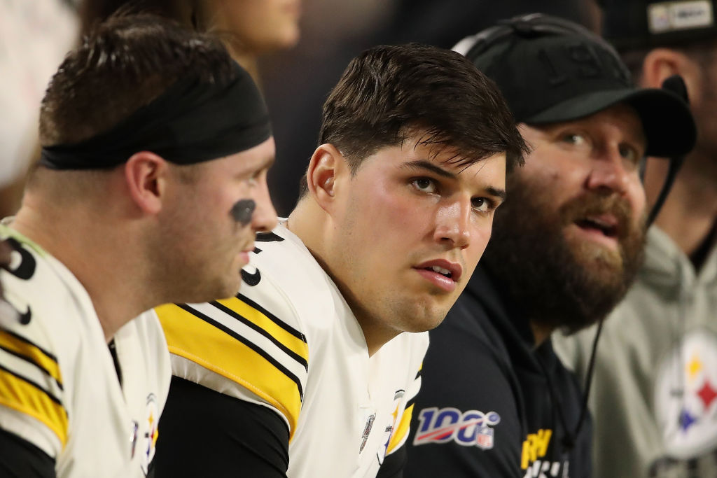 Mason Rudolph (center) is supposed to follow Ben Roethlisberger as the Steelers' QB, but does he have what it takes to do so?