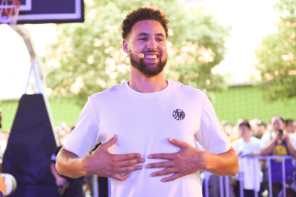 NBA player Klay Thompson of the Golden State Warriors meets fans