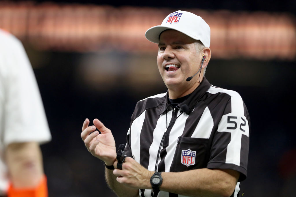 Referee Bill Vinovich looks on during the NFC Championship game