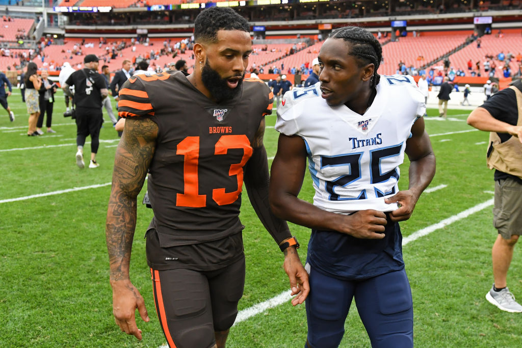 Wide receiver Odell Beckham Jr. of the Cleveland Browns talks with cornerback Adoree' Jackson of the Tennessee Titans