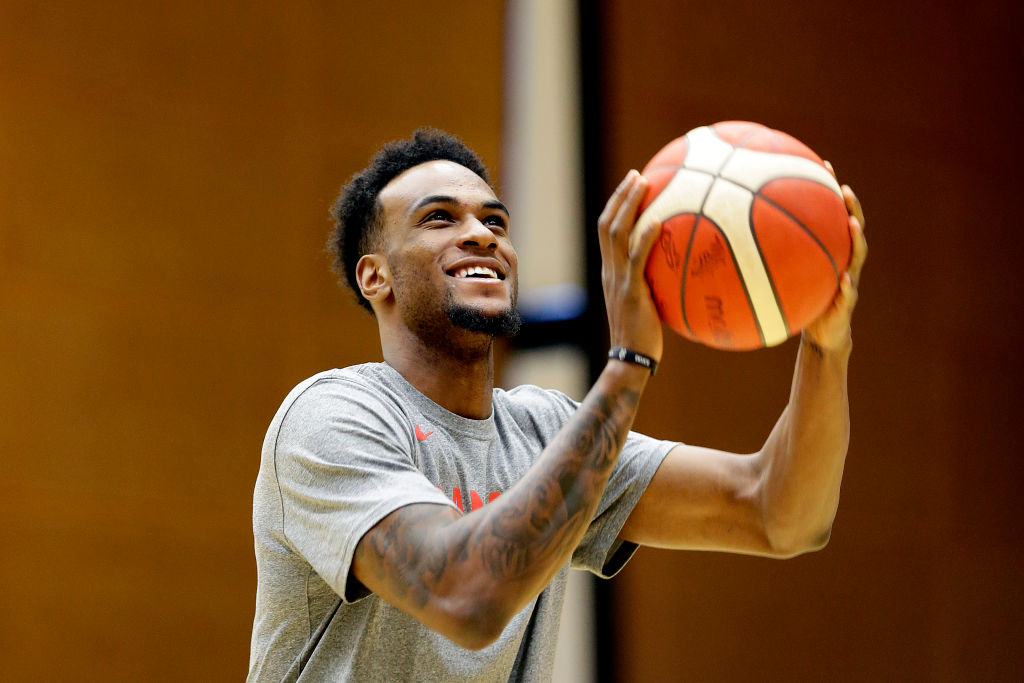 Oshae Brissett of Canada Basketball takes a shot during a Canada National Basketball Team Training Session