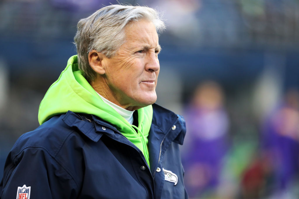 Seahawks head coach Pete Carroll on the sidelines.