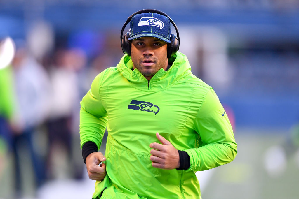 Russell Wilson of the Seattle Seahawks warms up