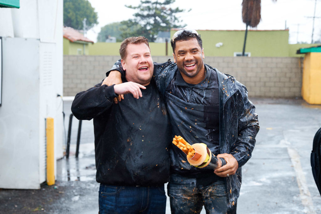 Russell Wilson joins James Corden for Sunday Night Food Ball