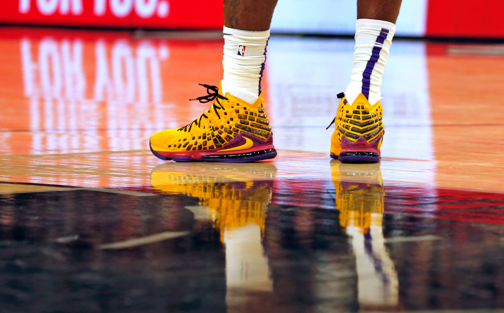 Shoes of LeBron James of the Los Angeles Lakers