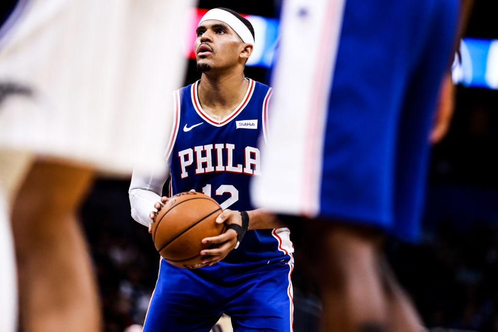 Tobias Harris of the Philadelphia 76ers puts up free throws