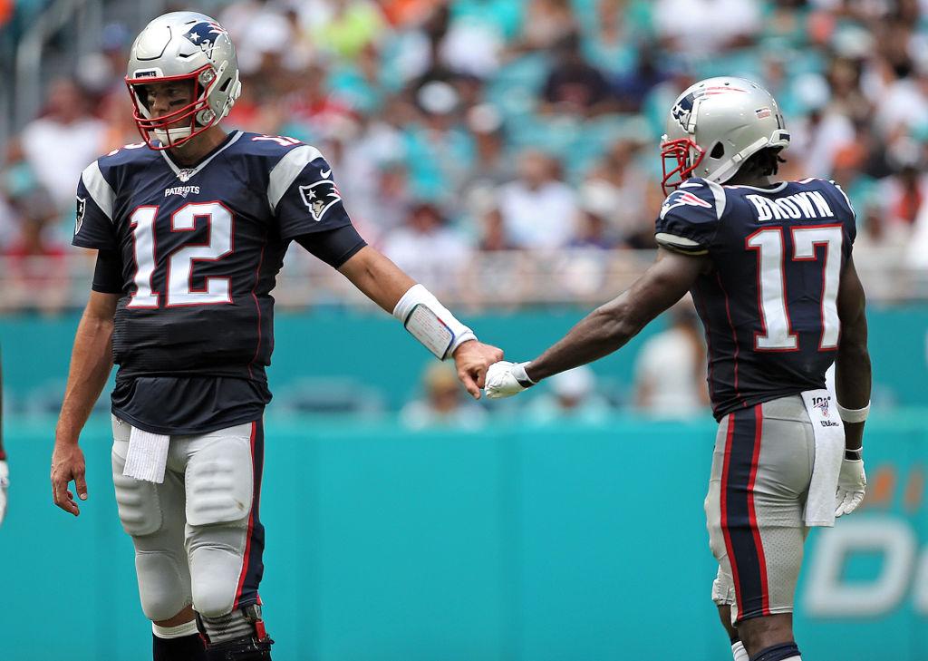 Patriots quarterback Tom Brady and former teammate Antonio Brown
