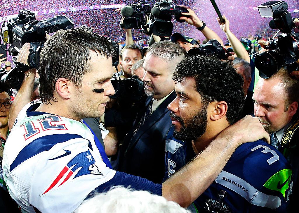 Patriots quarterback Tom Brady and Seahawks quarterback Russell Wilson