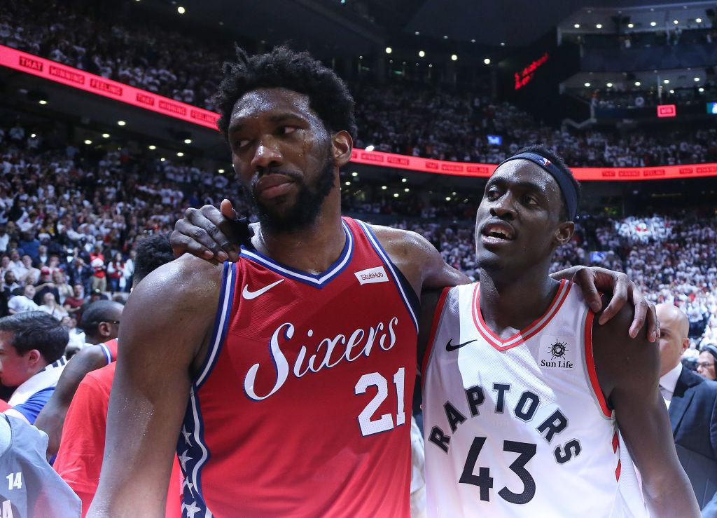 Toronto Raptors forward Pascal Siakam consoles his fellow countryman Philadelphia 76ers center Joel Embiid as the Toronto Raptors beat the Philadelphia 76ers