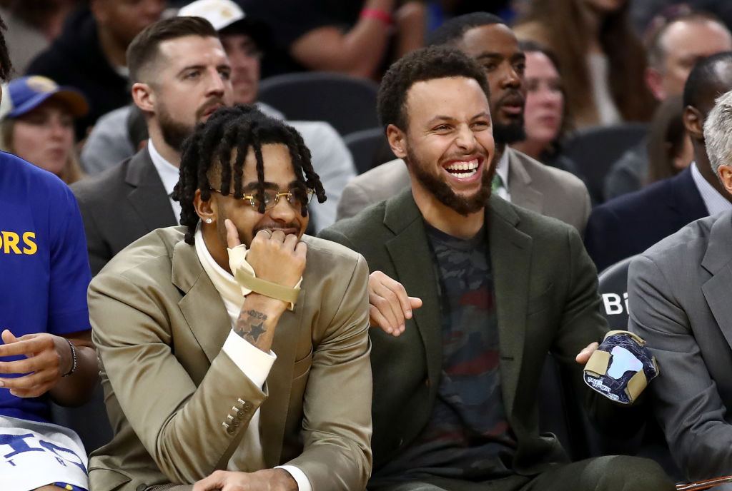 Warriors guards D'Angelo Russell and Stephen Curry