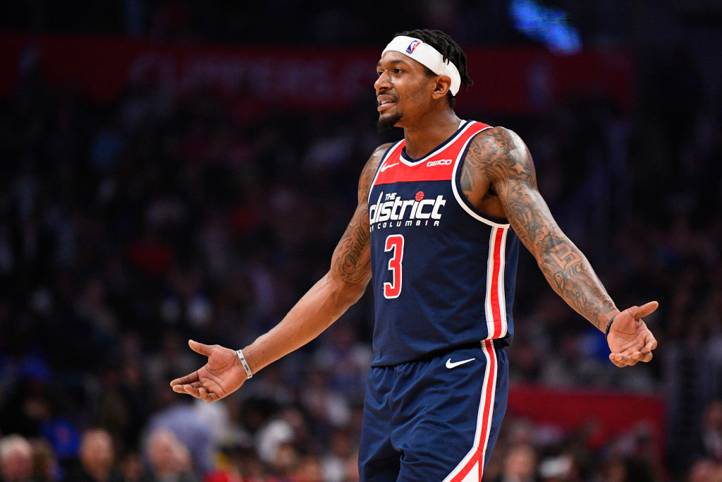 Washington Wizards guard Bradley Beal looking frustrated.