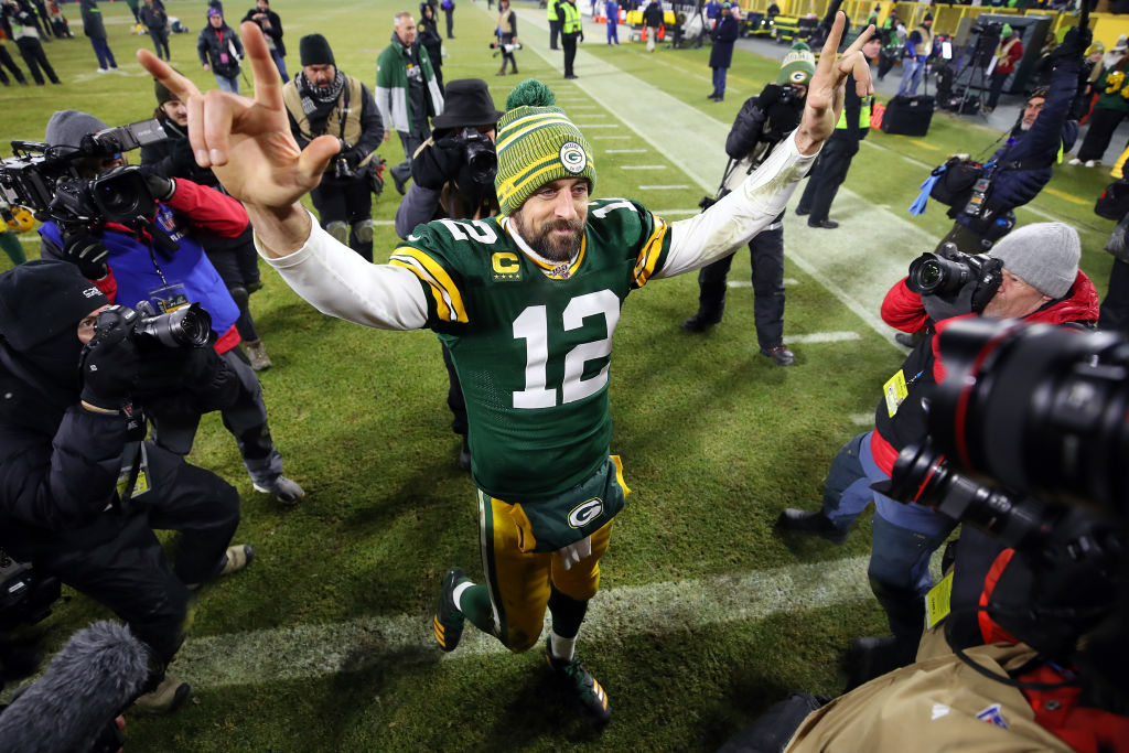 Aaron Rodgers of the Green Bay Packers celebrates a win