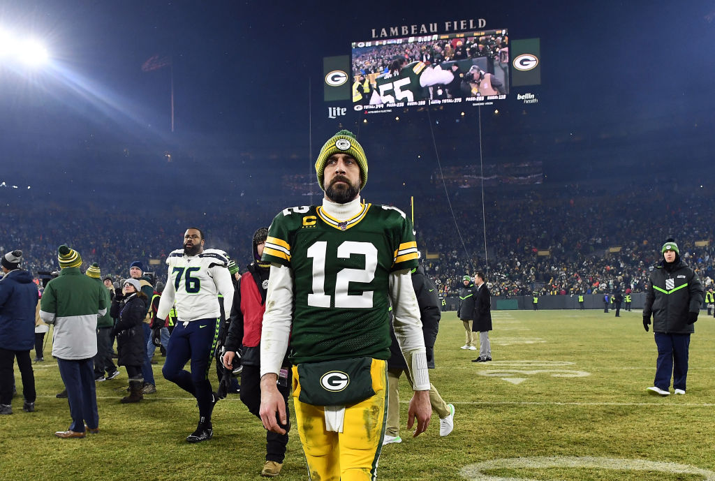 Aaron Rodgers of the Green Bay Packers reacts after defeating the Seattle Seahawks