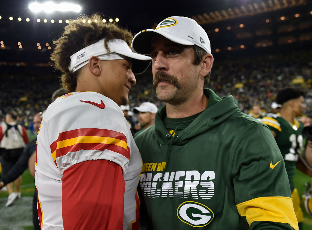 Aaron Rodgers of the Green Bay Packers shake hands with Patrick Mahomes of the Kansas City Chiefs after a preseason game at Lambeau Field on August 29, 2019 in Green Bay, Wisconsin in 2019