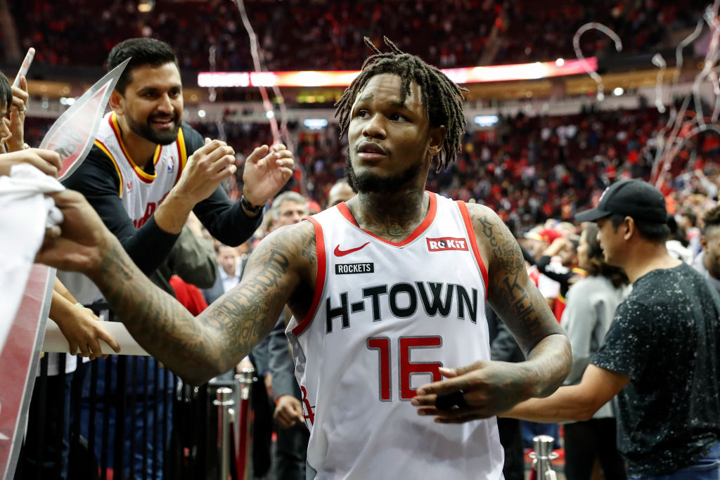 Ben McLemore of the Houston Rockets greets fans