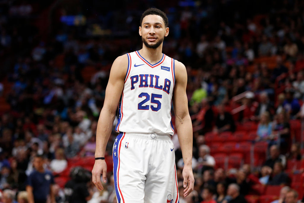 Ben Simmons of the Philadelphia 76ers looks on prior to a game
