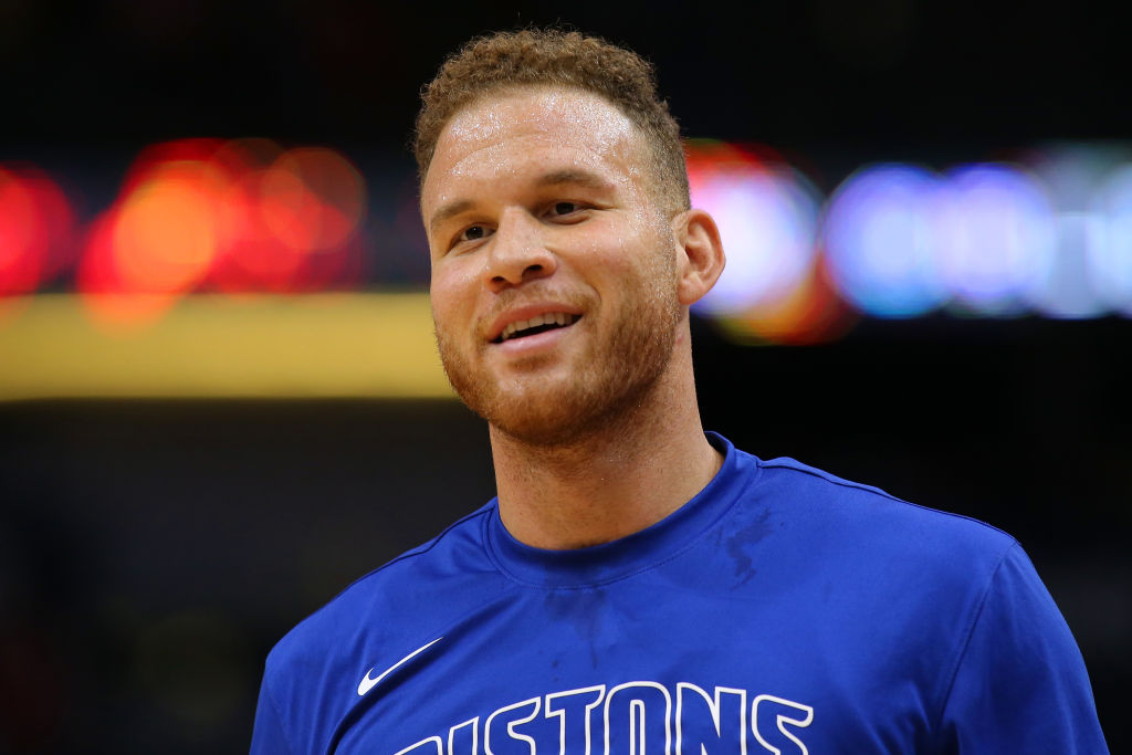 Blake Griffin of the Detroit Pistons reacts against the New Orleans Pelicans