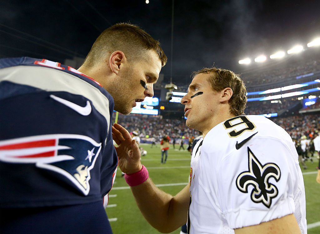 The Patriots' Tom Brady (left) and the Saints' Drew Brees are two of the best NFL QBs ever, but which one will be better in 2020?