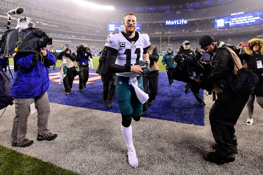 Carson Wentz of the Philadelphia Eagles walks off the field