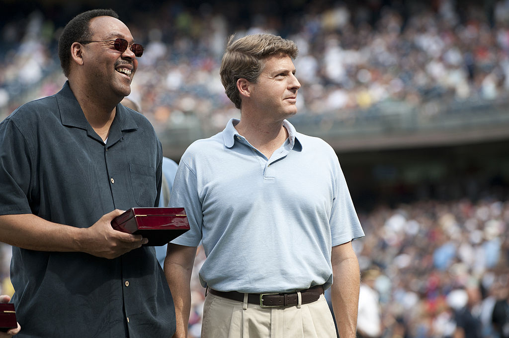 Charles Jeter and Yankee owner Hal Steinbrenner look on during a ceremony