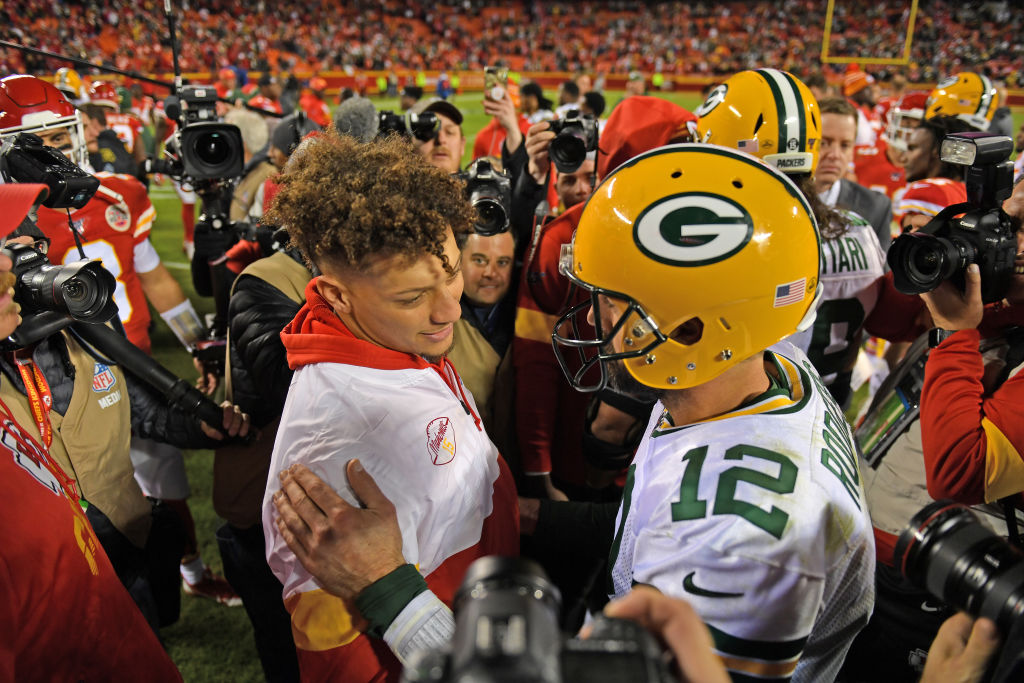 Packers quarterback Aaron Rodgers and Chiefs quarterback Patrick Mahomes