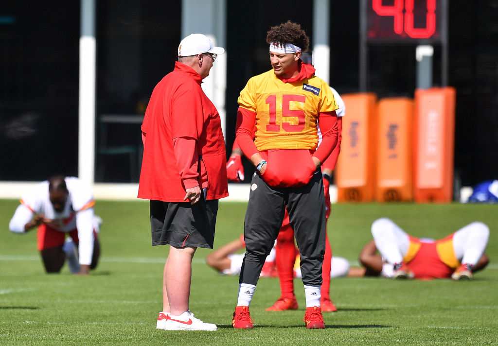 Head Coach Andy Reid and Patrick Mahomes of the Kansas City Chiefs speak before performing drills