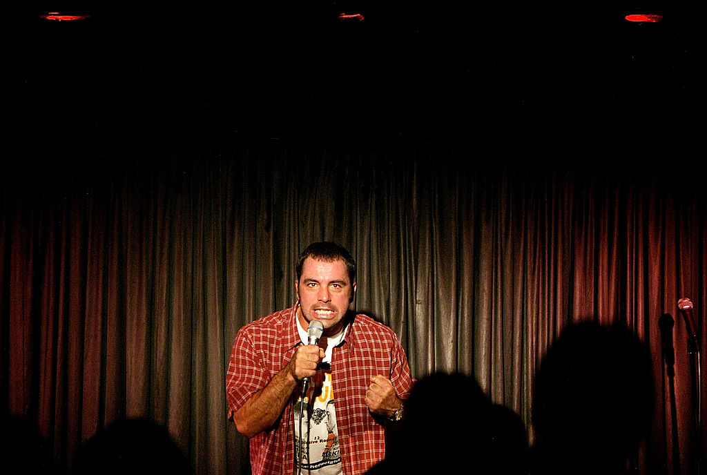Comedian Joe Rogan of The Man Show performs a set at the Comedy Store in 2003