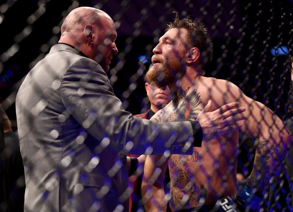 Conor McGregor in conversation with UFC President Dana White