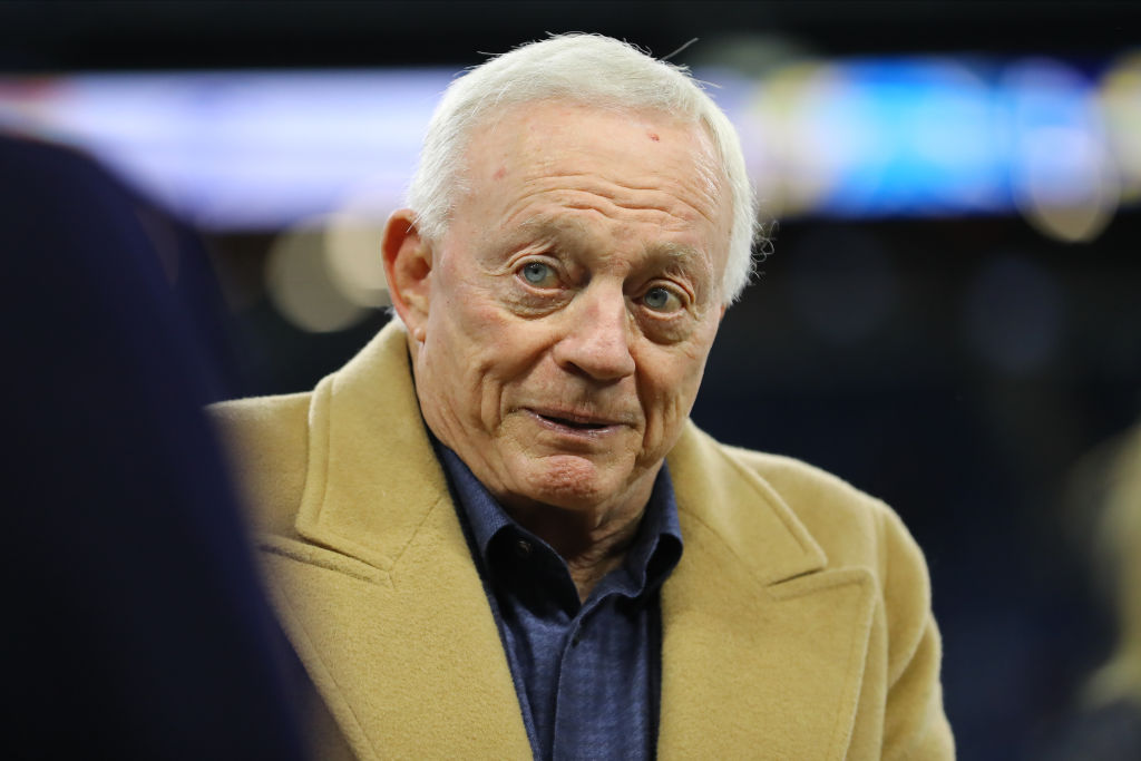 Jerry Jones walking on the sideline before a game